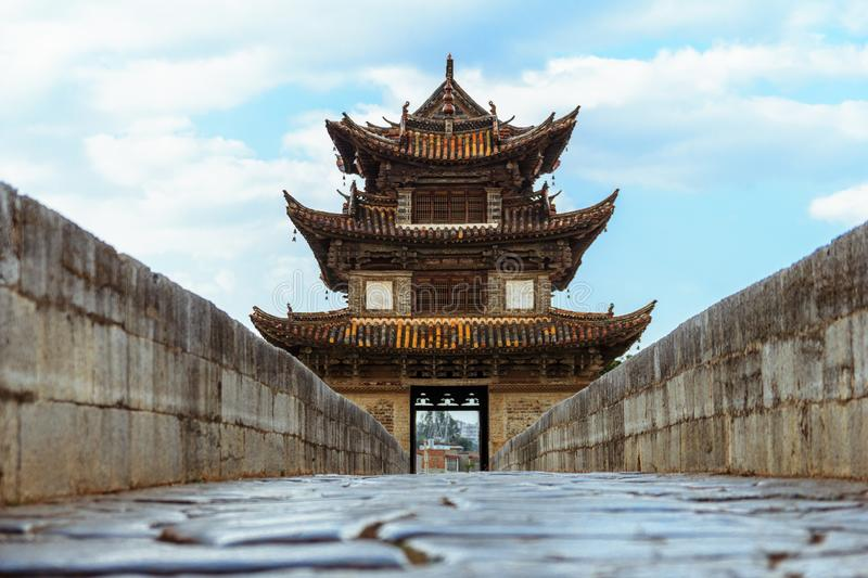 Chinese style stone bridge in Yunnan province royalty free stock images