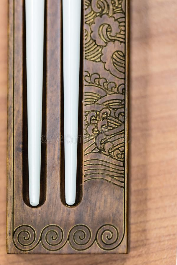 Chinese style traditional chops tickers closeup view. Chinese style traditional chops tickers closeup macro view royalty free stock image