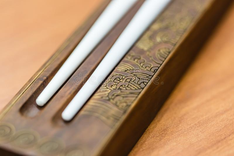 Chinese style traditional chops tickers closeup view. Chinese style traditional chops tickers closeup macro view stock images