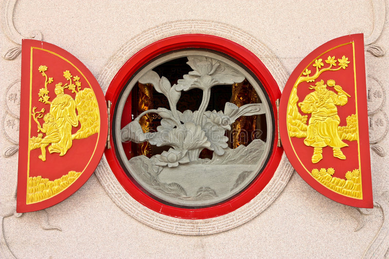 Chinese style window. A Chinese style window of pavilion in Chinese temple, Nonthaburi, Thailand stock photography