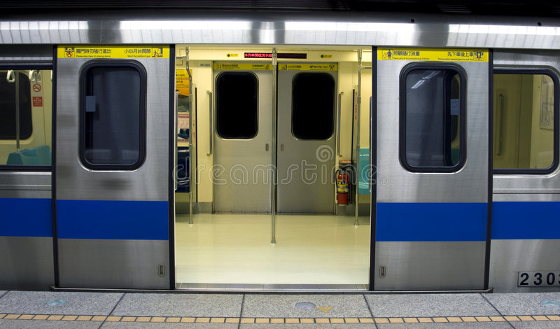 Chinese Subway Train. Carriage with doors open stock photos