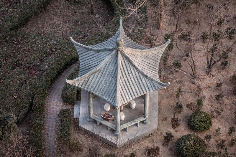 Chinese summer pavilion, top view stock photography