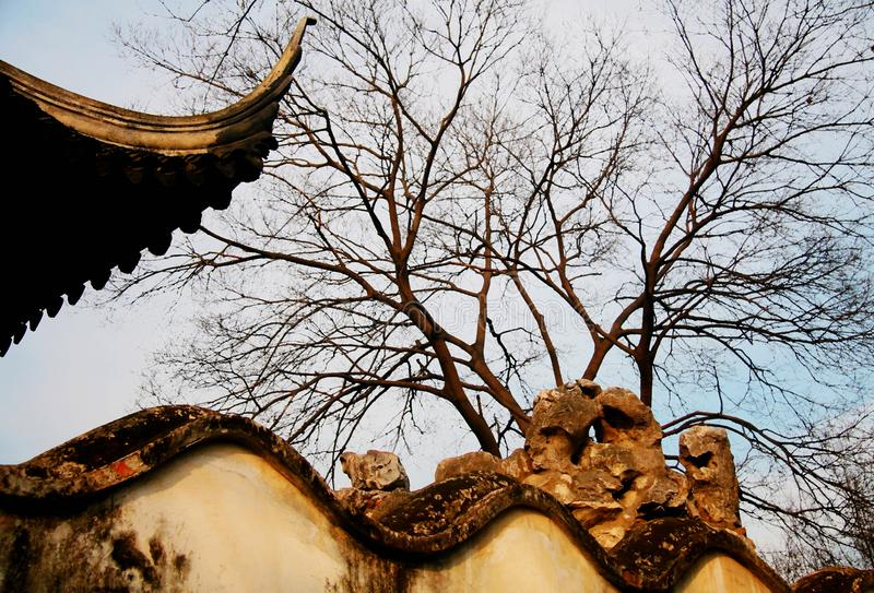 The winter Scenery in Chinese Suzhou classical gardens. Chinese Suzhou classical gardens have their unique historical status and value in the history of world stock images