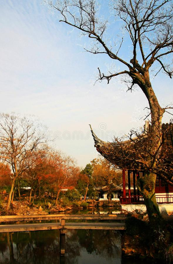 The winter Scenery in Chinese Suzhou classical gardens. Chinese Suzhou classical gardens have their unique historical status and value in the history of world stock photos