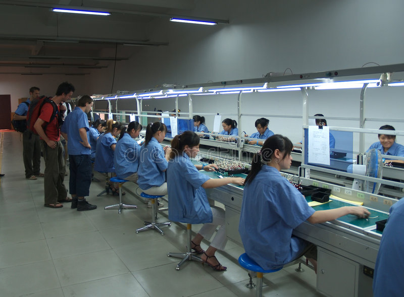 Chinese sweatshop interior stock image