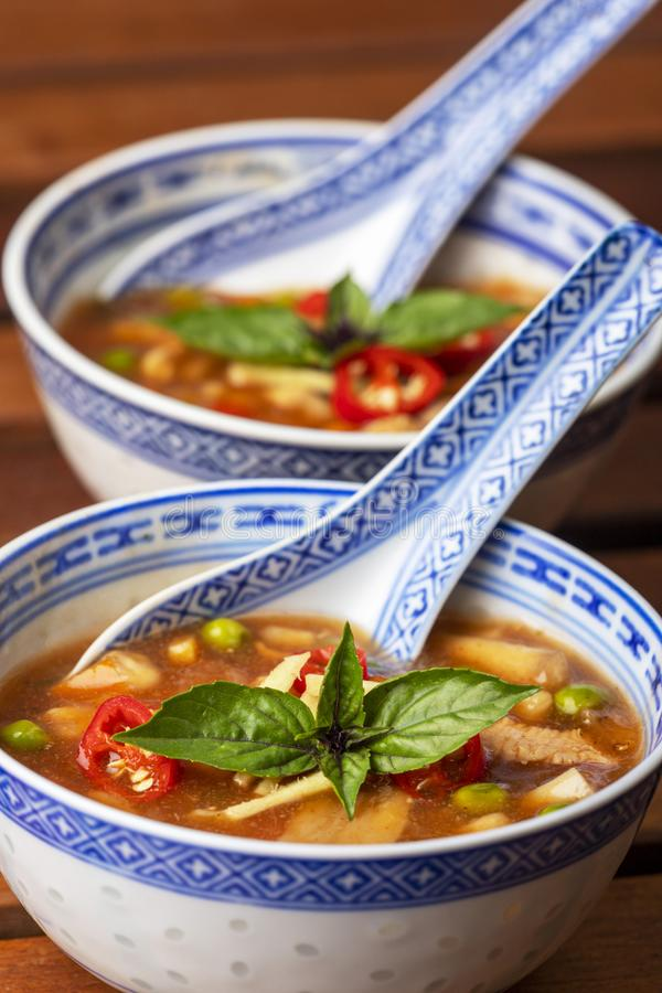 Chinese sweet and sour soup stock image