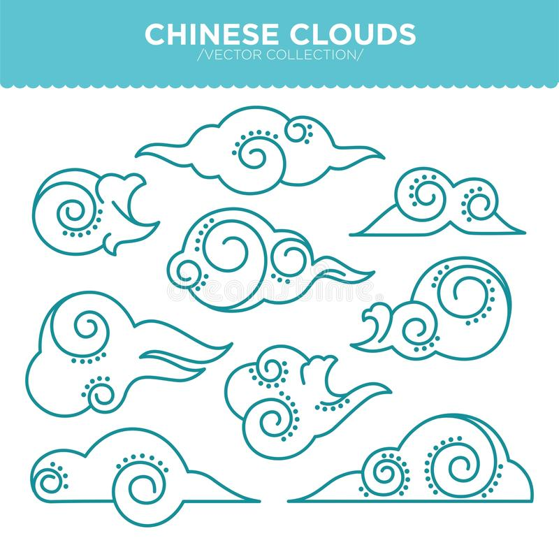 Chinese swirly clouds thin blue outlines vector collection vector illustration