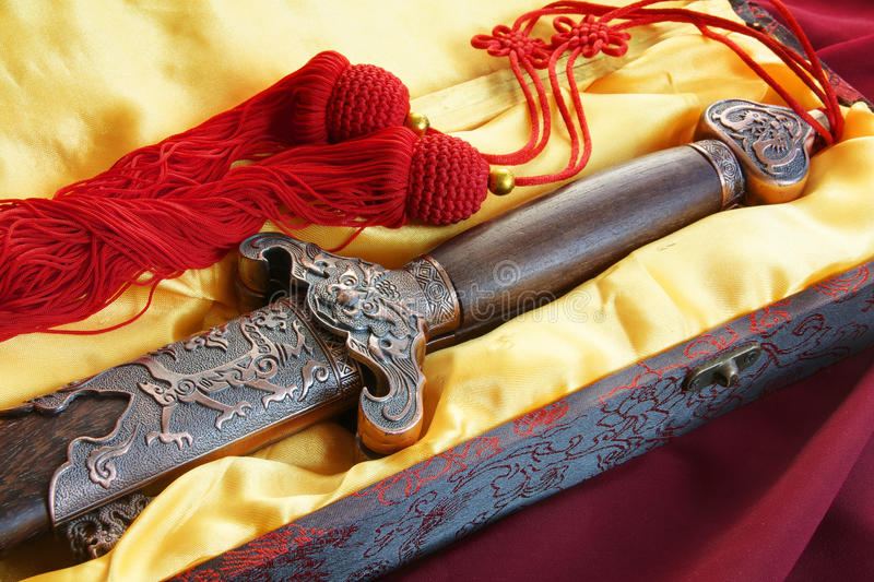 Chinese sword for fitness dancing stock photo