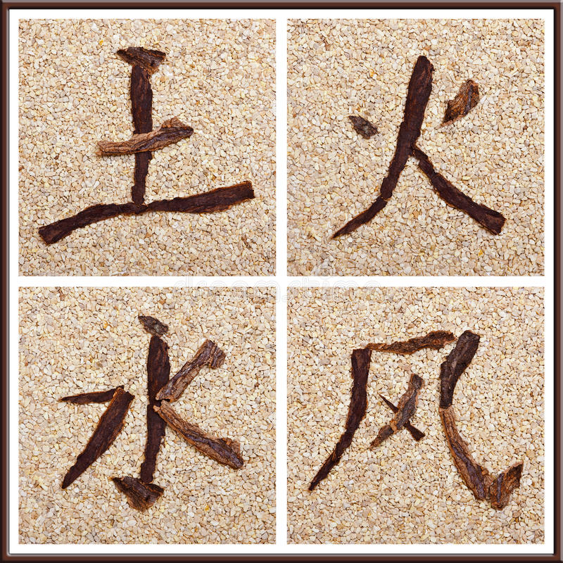Chinese character for earth, fire, water, air royalty free stock photos