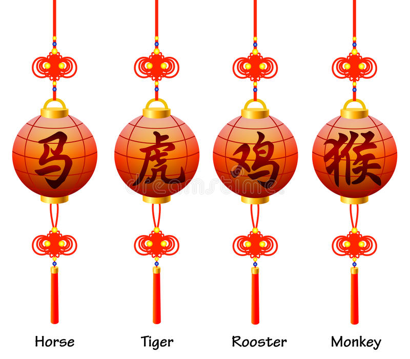 Chinese Symbols On The Lantern Signs Of The Zodia Stock Vector