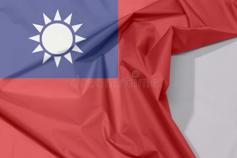 Chinese Taipei Taiwan fabric flag crepe and crease with white space. royalty free stock photos