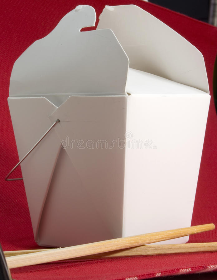 Chinese take out. Chinese food take out container chop sticks rice royalty free stock photo