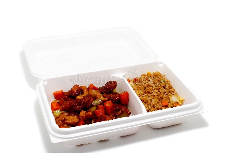 Chinese take out. Chinese food in a take out container stock images