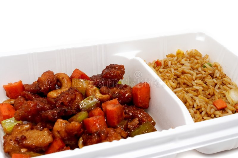Chinese take out. Chinese food in a take out container royalty free stock image