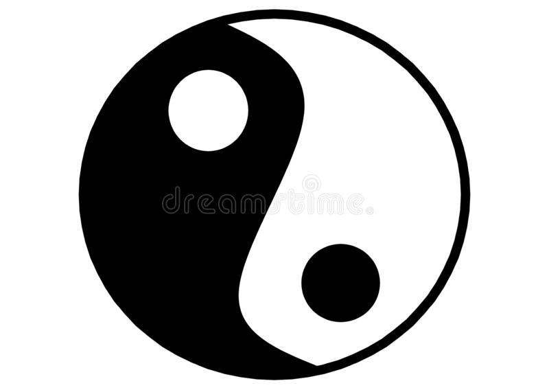The chinese Taoism symbol of Ying Yang against a white backdrop royalty free stock photos