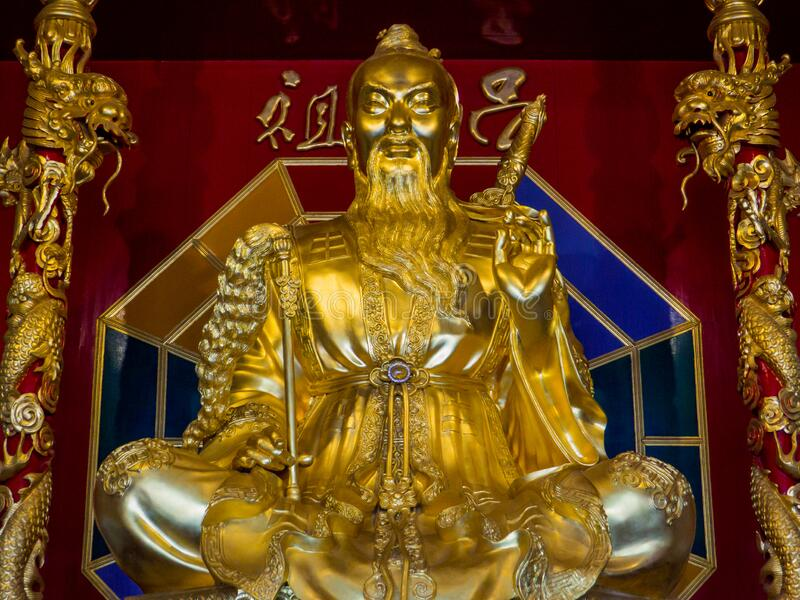 Chinese Taoist Statue. In the Anek Kusala Sala Temple, also known as Viharnra Sien. In Pattaya, Thailand royalty free stock images