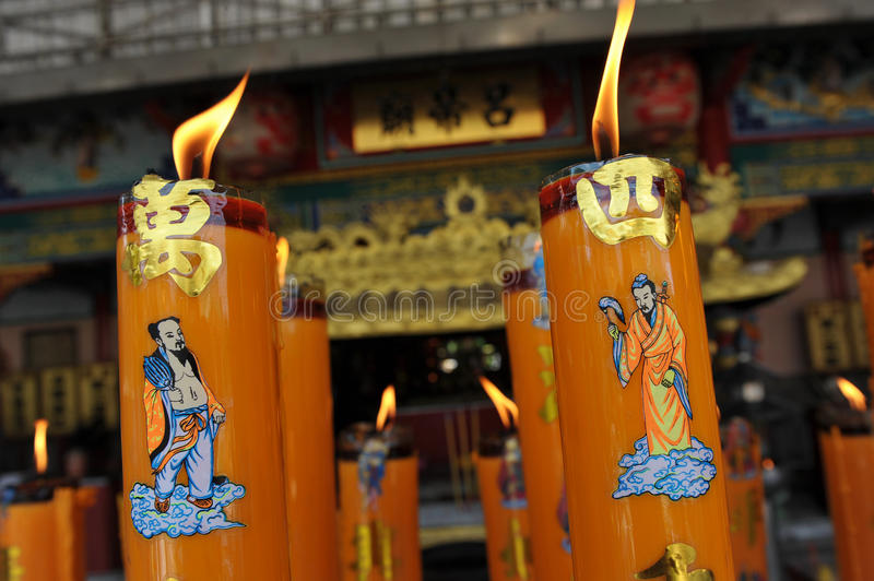Chinese Taoist Temple. Candles Burn at a Chinese Taoist Temple stock photos