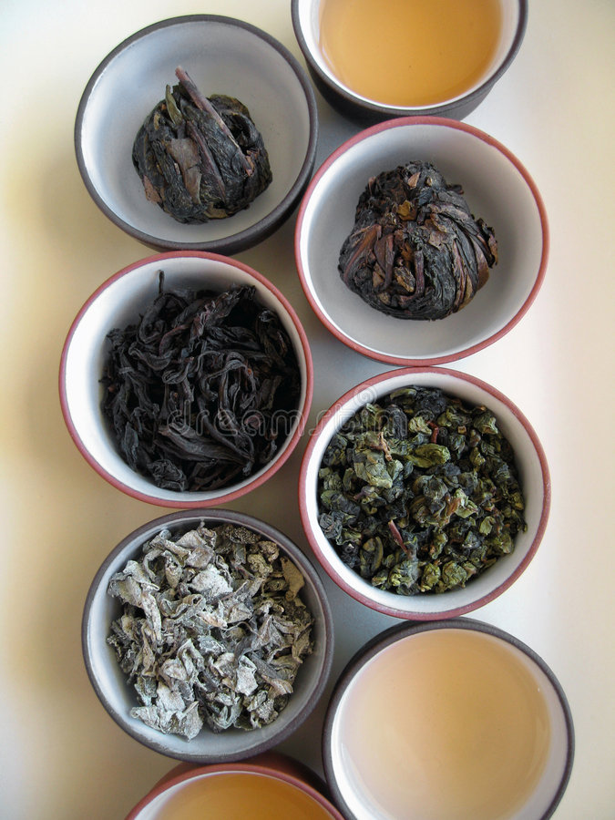 Chinese Tea 3. Quality dried Chinese tea leaves with freshly brewed drinks stock photo