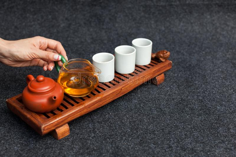 Chinese tea ceremony Asian wooden table board chaban top view copy space morning energy royalty free stock photo