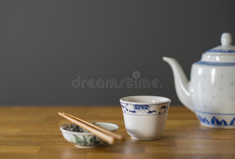 Chinese Tea and Chopsticks royalty free stock images