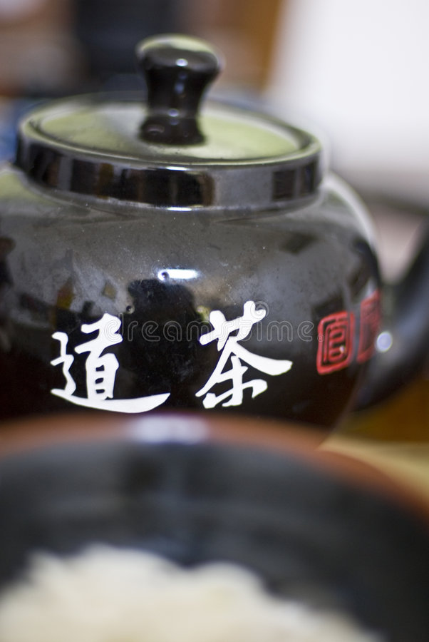 Chinese tea pot. Close up of a Chinese tea pot royalty free stock image