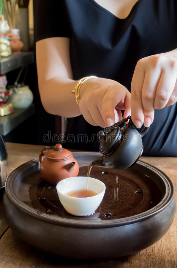Chinese tea preparation stock photography