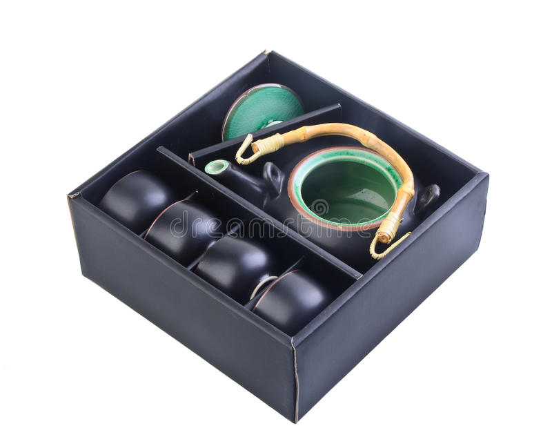Download Chinese Tea Set Black Colour In Box Stock Photo - Image: 25888472