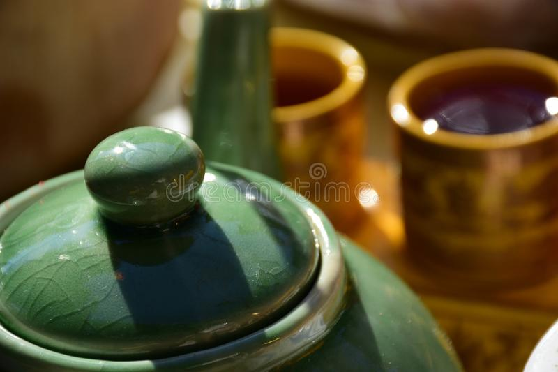 Chinese tea for worship predecessor. stock photo