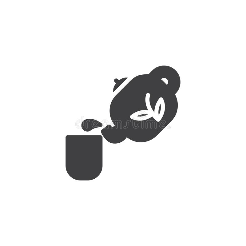 Chinese teapot and tea cup vector icon stock illustration