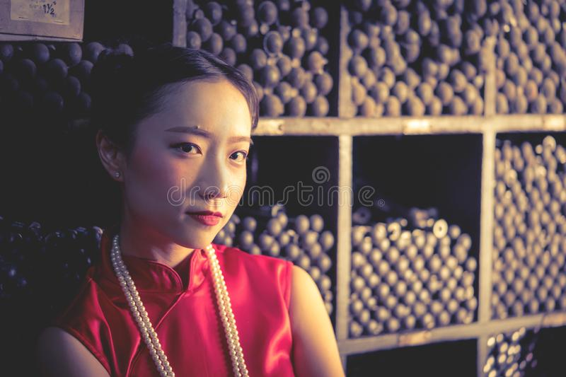 Chinese teenager worker in a steel metal store shop stock photography