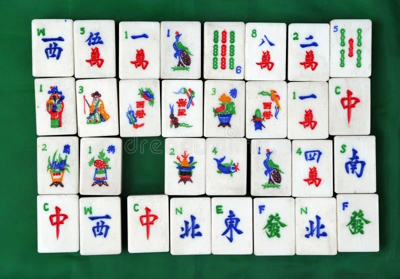 Chinese tegels Mahjong stock afbeeldingen