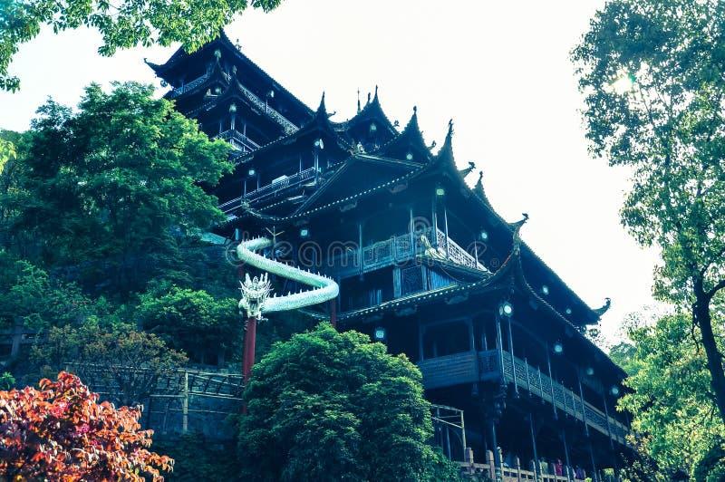 Chinese Tempel in Zhangjiajie, China stock afbeelding