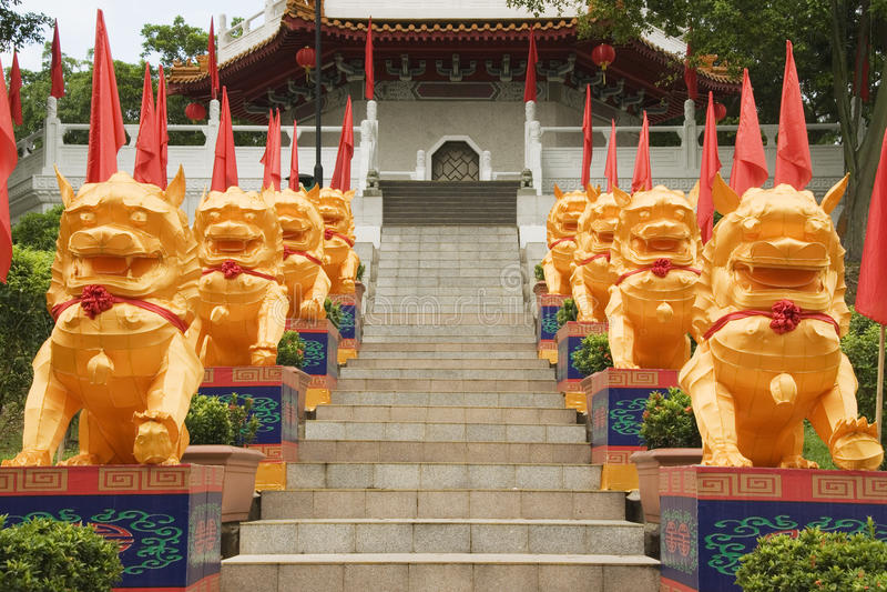 Chinese Tempelleeuwen, Chinese Tuinen, Singapore stock afbeelding