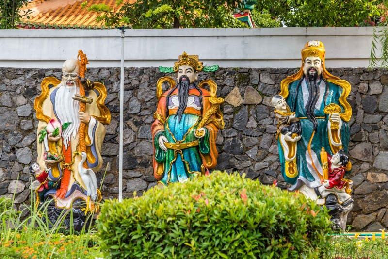 Chinese tempelstandbeelden in Semarang Indonesië stock afbeeldingen