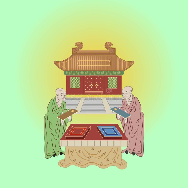 Chinese temple. And two monks with books vector illustration