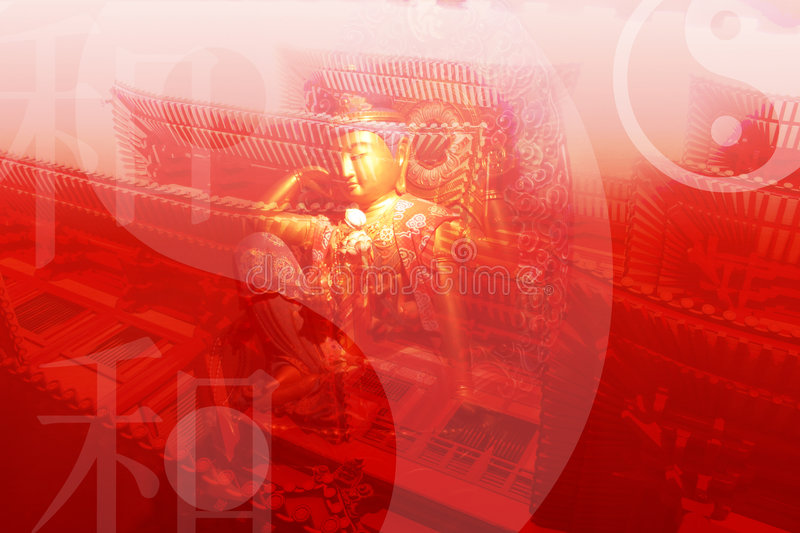 Chinese Temple Abstract Background Wallpaper. In Red Tones royalty free illustration