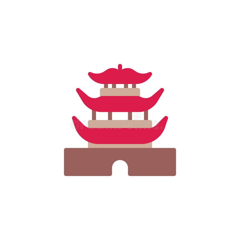Chinese Temple Architecture flat icon. Vector sign, colorful pictogram isolated on white. Chinese pagoda building symbol, logo illustration. Flat style design royalty free illustration