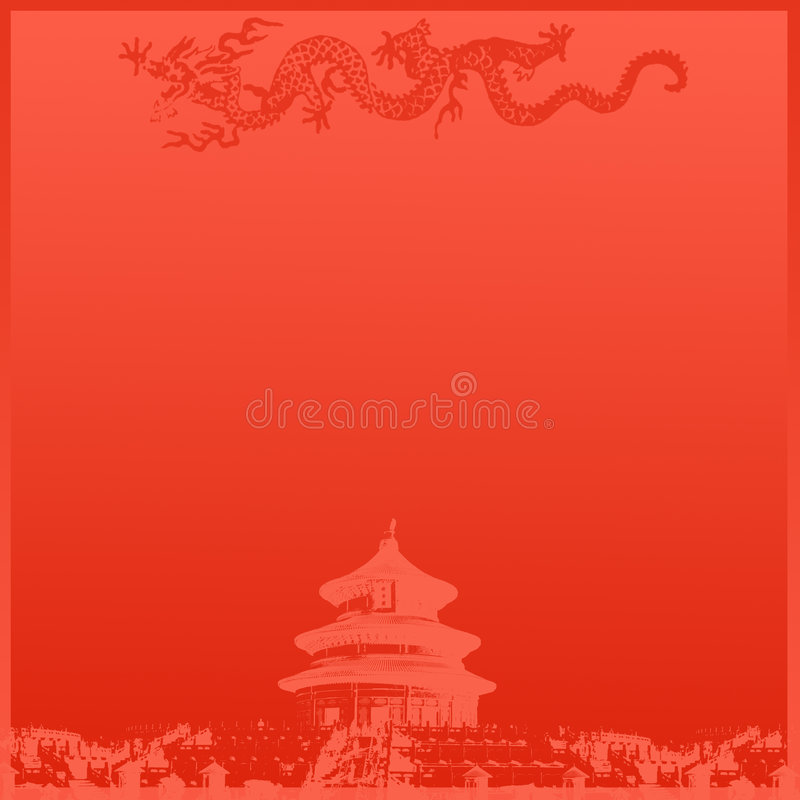 Chinese Temple Background. Chinese Temple Abstract Red Background royalty free illustration