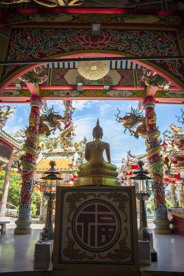 Chinese temple with Buddha at sunny day stock image
