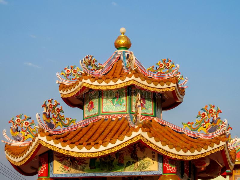 Chinese temple roof traditional architecture stock image