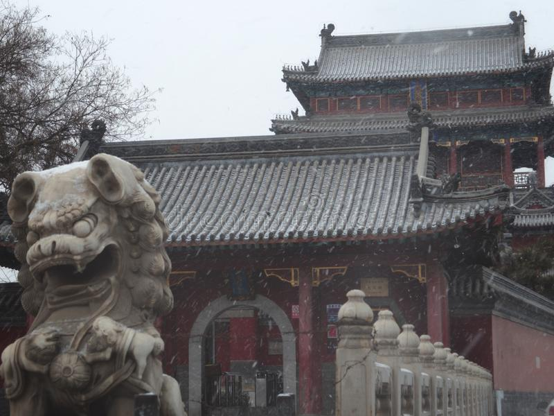 Chinese temple. In the snow and the stone lion at its door stock images