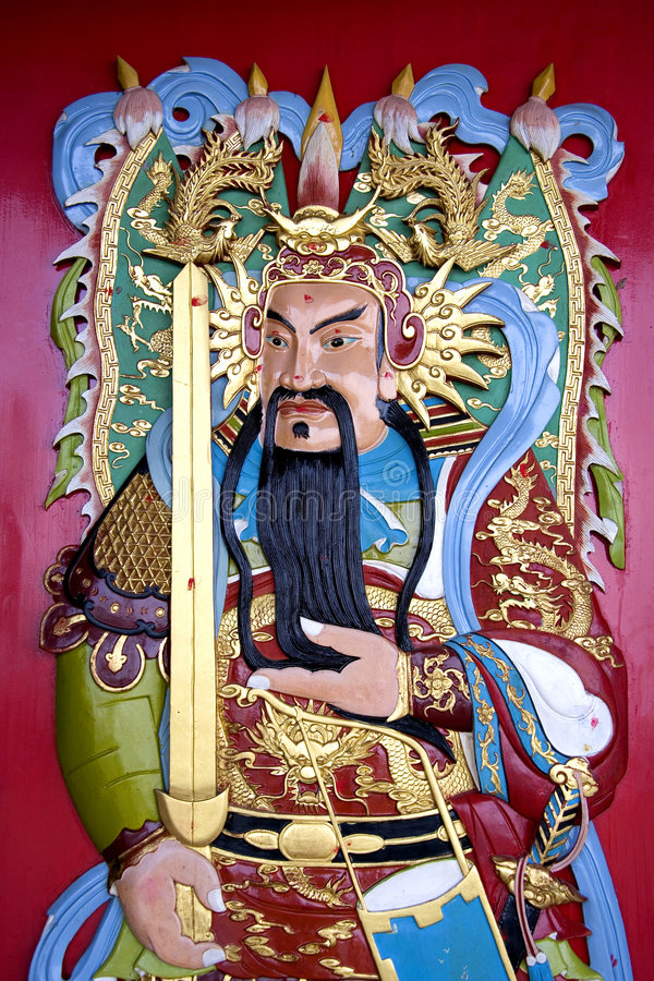 Chinese Temple Deity. Image of a deity on a Chinese temple door royalty free illustration