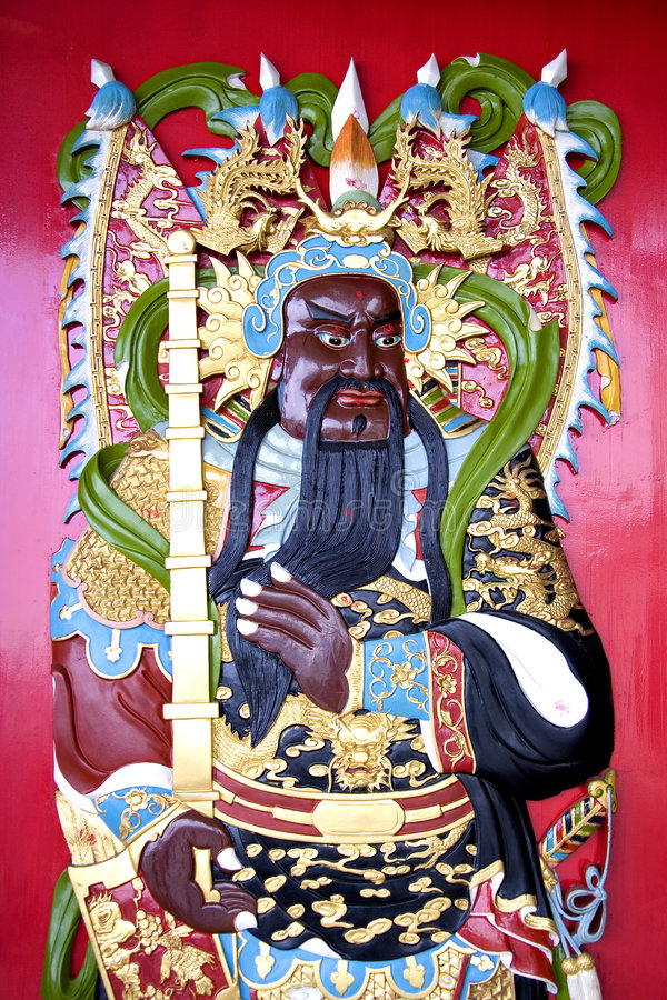 Chinese Temple Deity. Image of a deity on a Chinese temple door stock illustration