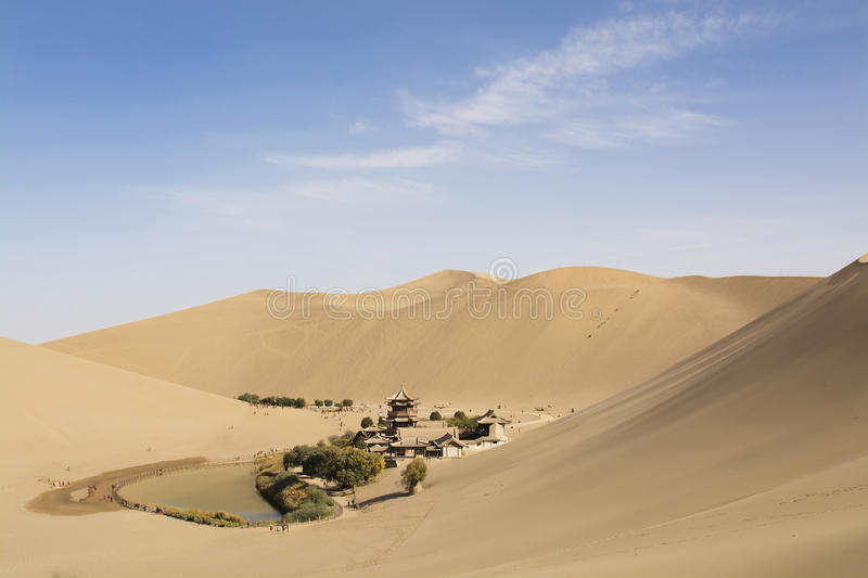 Chinese temple in desert royalty free stock images