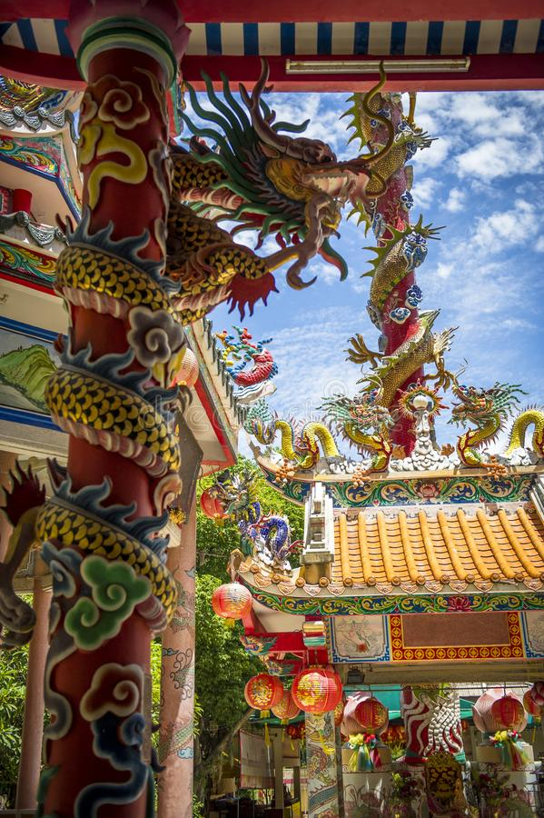 Chinese temple details with dragons on columns stock photos