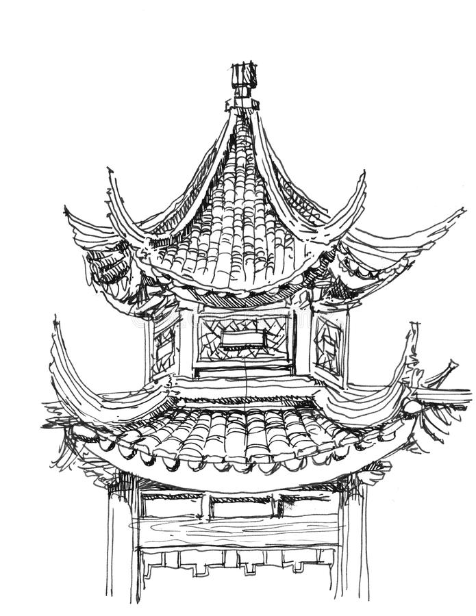 Chinese temple drawing stock photo