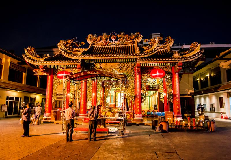 The Chinese temple of `Guan Yin` at Yaowarat Road, Bangkok`s Chinatown,the image at night time. BANGKOK, THAILAND. – On March 30, 2018 - The Chinese stock photography