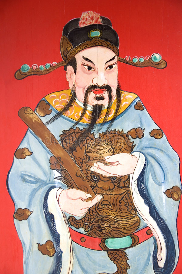 Chinese Temple Guardian. Image of a guardian painted on a chinese temple door in Malaysia stock illustration