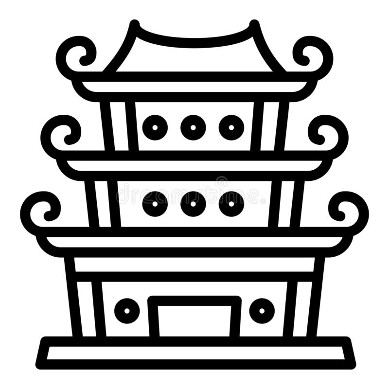 Chinese temple icon, outline style. Chinese temple icon. Outline chinese temple vector icon for web design isolated on white background stock illustration