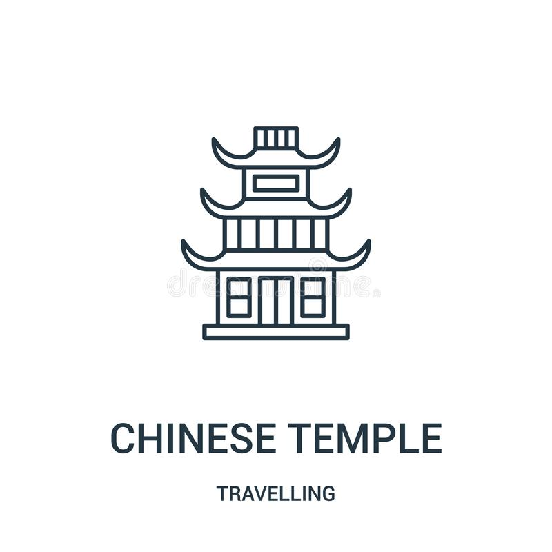 Chinese temple icon vector from travelling collection. Thin line chinese temple outline icon vector illustration. Linear symbol. For use on web and mobile apps stock illustration